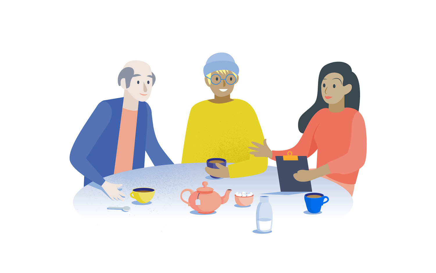 a group of people around a table conducting research