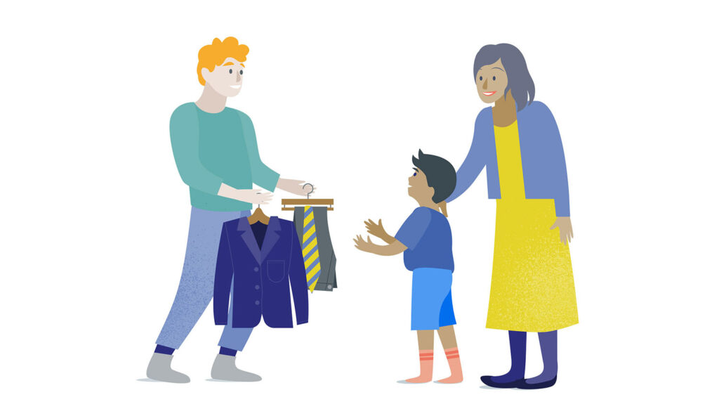 an illustration of a family helping a man choose a work outfit